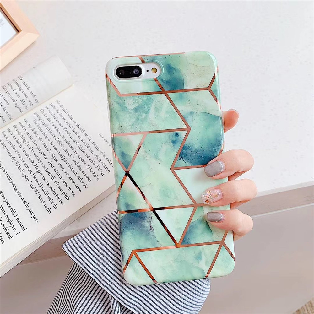 Qianliyao Cute Geometric Marble Texture Phone Case For iPhone X XR XS Max 6 6S 7 8 Plus Cases Soft IMD Electroplated Back Cover