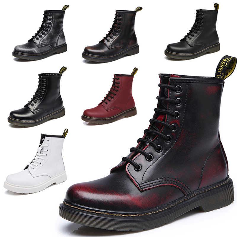LAKESHI แท้รองเท้าหนังผู้หญิง Dr ข้อเท้าฤดูหนาวทำงาน Safeti รองเท้าข้อเท้ารองเท้าหญิง Punk รองเท้าผู้หญิงขนาด 46