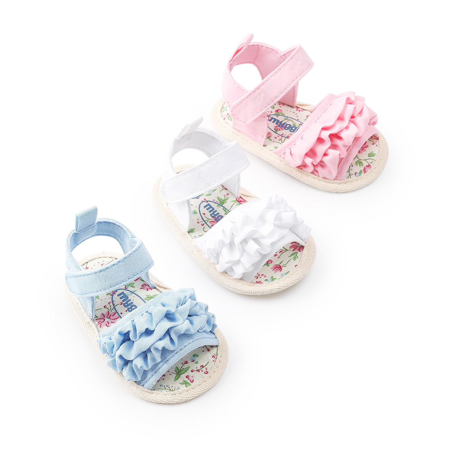 Princess Cute Newborn Baby Girls Shoe Flower Sandals Summer Casual Soft Crib Shoes Headbands First Walker Zapatos Bebe