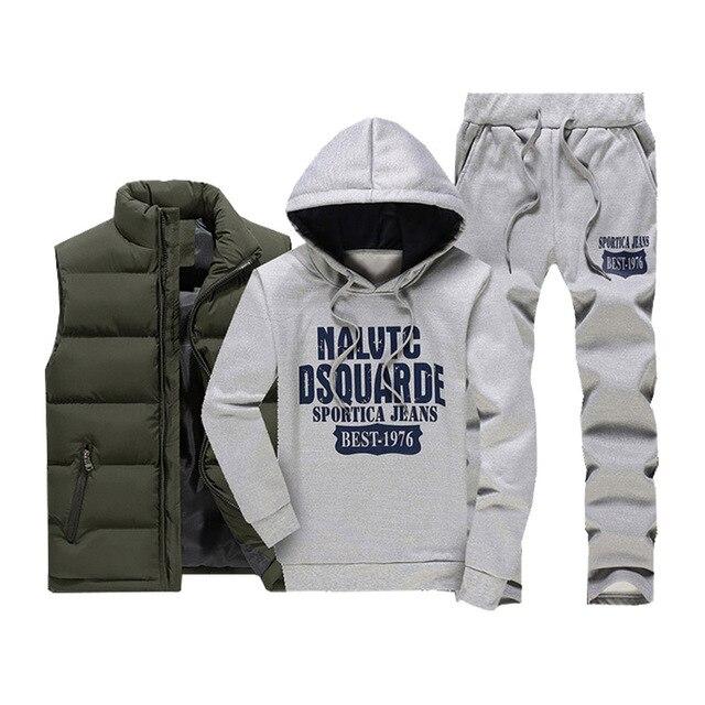3 Pieces Fur Hooded Fleece Hoodies+Zipper Vest+Sweatpants Winter Thick Warm Tracksuit Men Sporting Tracksuit Coat Sweatsuit 2020 2