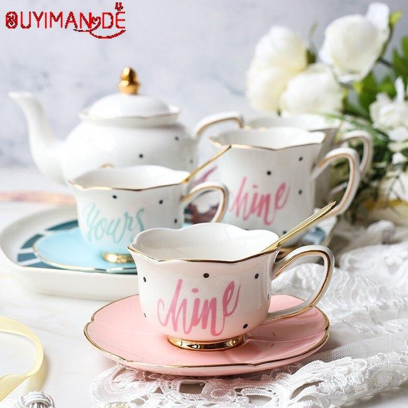 Gold Afternoon Tea Cup Saucer Set Coffee Cup Tea pot Milk Jug Sugar Pot Set Tea Tray Bridesmaid Gift