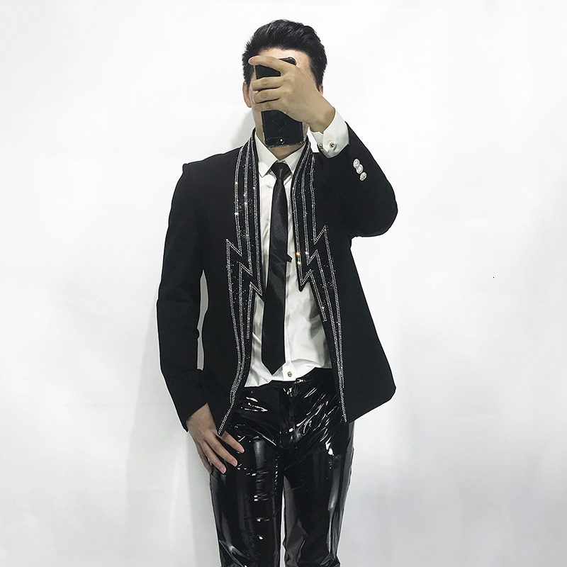 Designer Lightning Diamonds Blazer Men High Quality Single Button Casual Black Jacket Autumn New Long Sleeve Suit Coat S-2XL