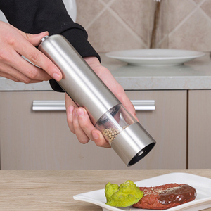 2 In 1 Stainless Steel Electric Pepper Salt Spice Mill Grinder Seasoning Kitchen Tools Grinding For Cooking Restaurants