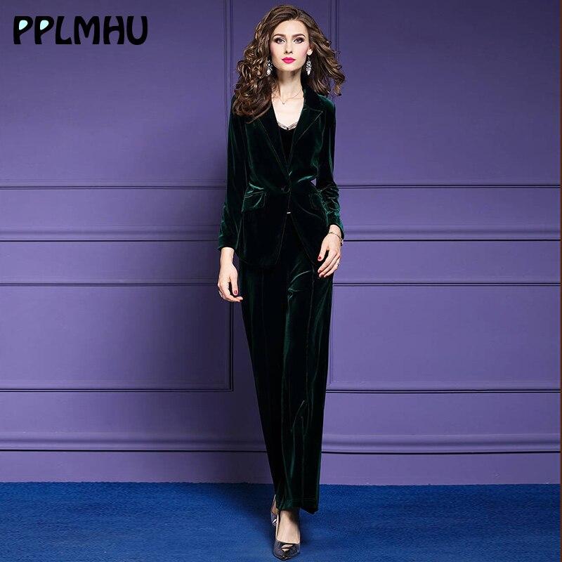 Formal-suits Office Lady Two-piece Sets Velvet Women 2019 Ensemble Femme Belt Winter Casual Elegant Vintage Party Evening Blazer