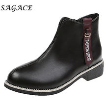 SAGACE Shoes ladies black leather boots women zipper boots Round Toe square heels shoes 2019 new laides winter platform boots(China)