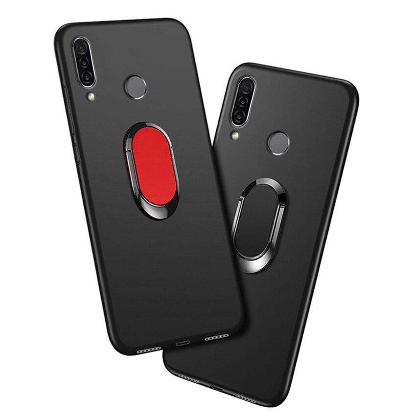 Cover For Oukitel C17 Pro Case Luxury 6.35 Inch Soft Black Plastic Metal Finger Ring Phone Funda For Oukitel C17 Pro Cases