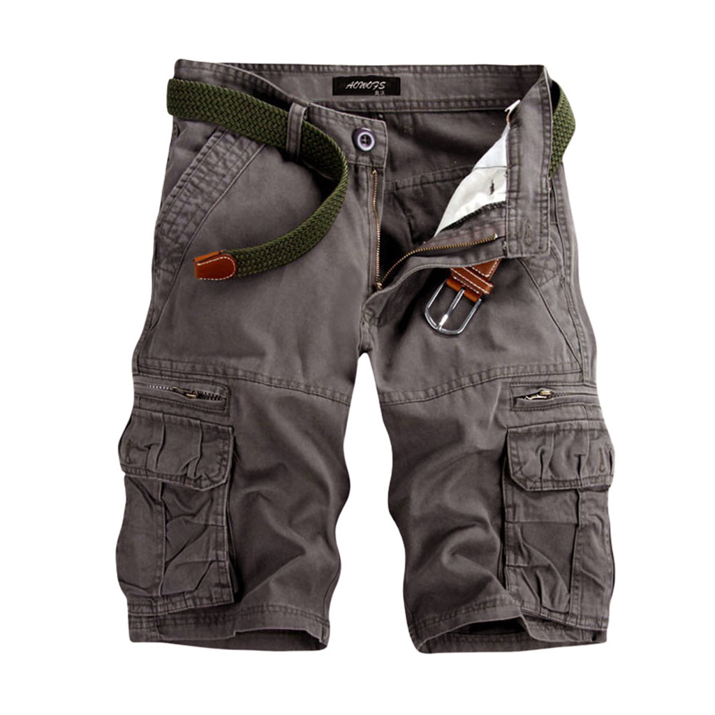 Shorts Men CasualShortsPure Color Outdoors Pocket Beach Work  Trouser Cargo Shorts Pant Wholesale Free Ship шорты мужские Z4