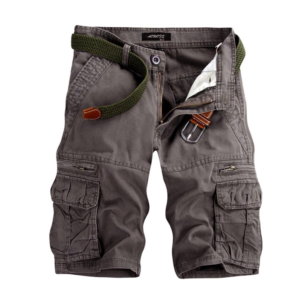 Shorts Men CasualShortsPure Color Outdoors Pocket Beach Work  Trouser Cargo Shorts Pant Wholesale Free Ship шорты мужские Z4