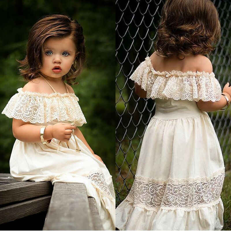 White Lace Girl Dresses Summer Kids Baby Girls Dress Off-Shoulder Ruffle Lace Party Pageant Dresses