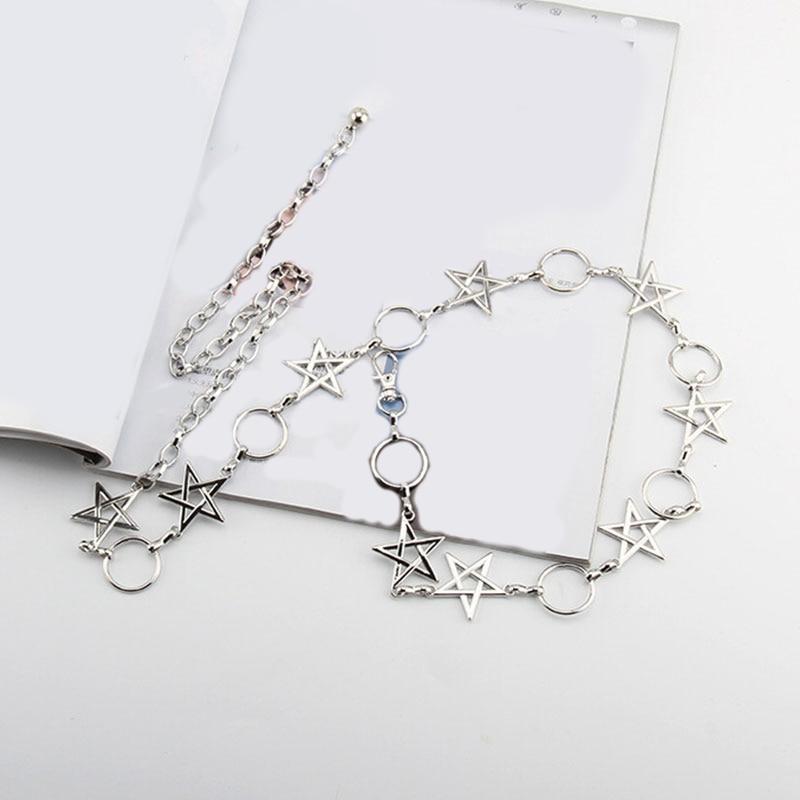 New Narrow Metal Chain Clothes Belt Long Tassel Stars Pentagram Women Fringes Belt Gold Silver Waist Thin Chain Solid Color