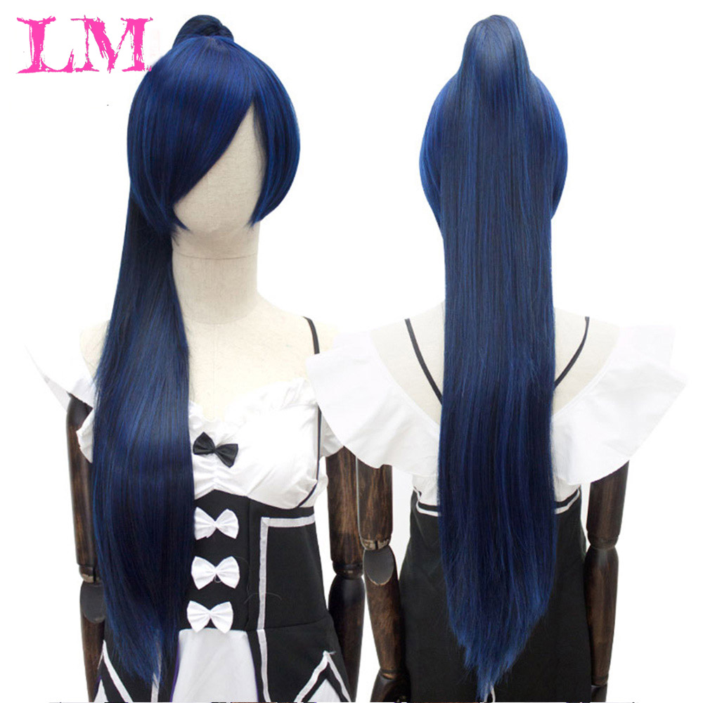 LiangMo Long Straight Hair Anime Wig Pink Black Brown Blue White 14 Colors 2 Ponytail Shape Claw Heat-resistant Synt