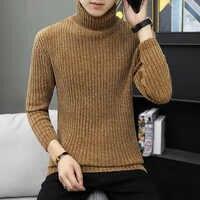 2019 Sweter z golfem mężczyźni wełniany Sweter męskie swetry Stripe golf męski Sweter Casual Thermal wysokiej jakości Sweter z dzianiny