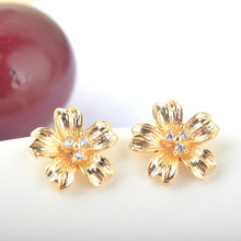 6 PCS Flower 11 *11 MM 24 K Gold Color Brass with zirconia Stud Earrings Pins High quality jewellery Accessories
