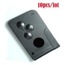 10 pçs/lote 3 botões de alta qualidade, cartão inteligente remoto 433mhz pcf7947, controle de chave de chip para renault megane 2 com 10 lâmina chave