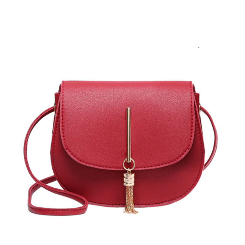 Fashion Mini Sling Bag Female Tassel Solid PU Leather Shoulder Handbag Women