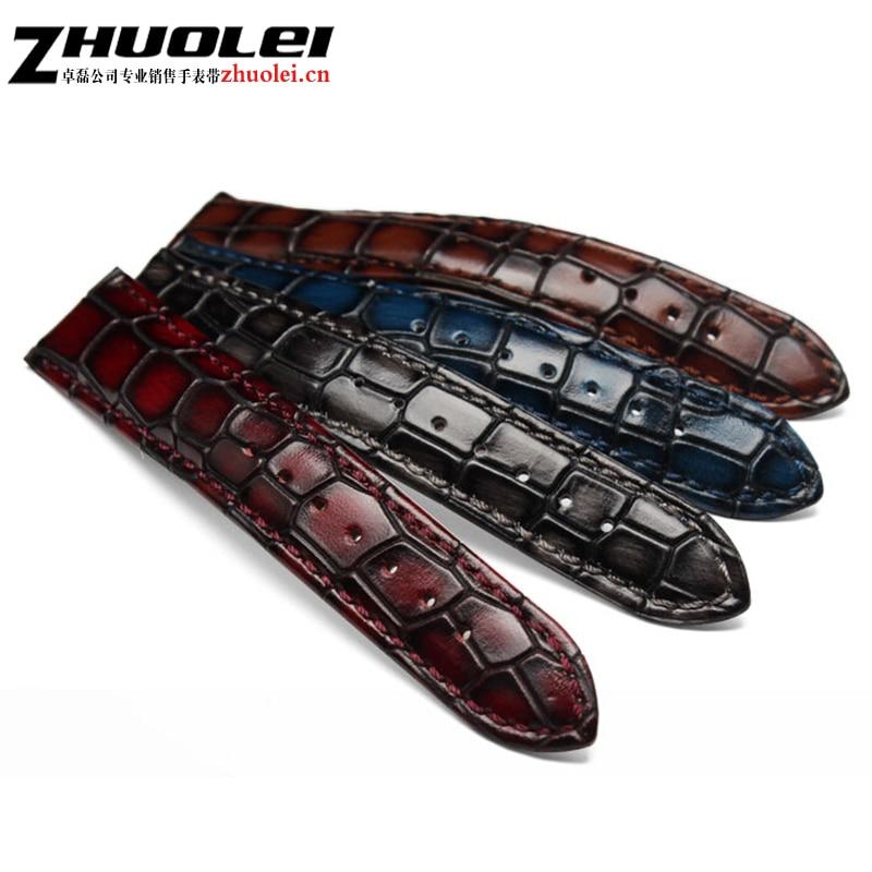 Bracelet de montre en cuir véritable pour hommes avec personnalité claire bracelet de texture crocodile bracelet de montre 18mm 20mm 22mm bleu