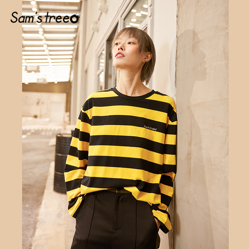 SAM'S TREE Yellow Colorblock Striped Casual Women T Shirts 2020 Spring Purple Long Sleeve Korean Style Ladies Daily Basic Tops