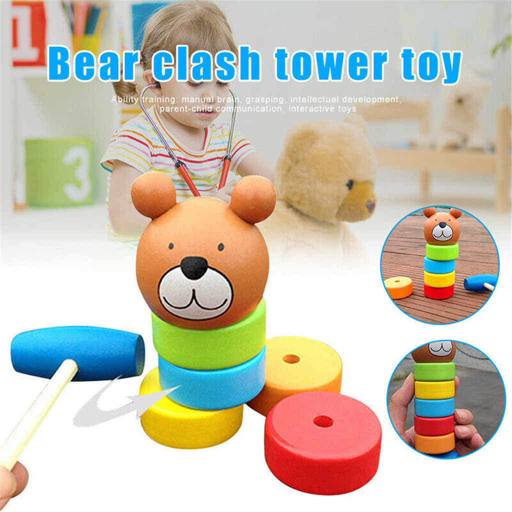 Wooden Toy Bear Clash Tower Children Pile Towers Early Education Toys Rainbow Tower Two In One Kids Parent-child Blocks Toys New
