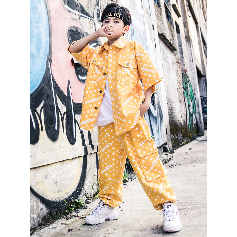 Kids Jazz Dance Costume Boys Street Dancing Wear Hip Hop Clothes Shirts Jogger Pants Stage Wear Outfits Performance Wear DQS2576