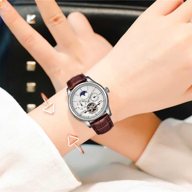 LIGE แบรนด์ผู้หญิงนาฬิกานาฬิกาอัตโนมัติอัตโนมัตินาฬิกา Tourbillon นาฬิกาสปอร์ตหนังกันน้ำนาฬิกาข้อมือ Relojes Mujer + กล่อง