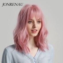 JONRENAU 여성을위한 깔끔한 bangs와 고품질의 짧은 자연 웨이브 헤어 합성 가발 핑크 베이지 브라운 선택을위한 3 색