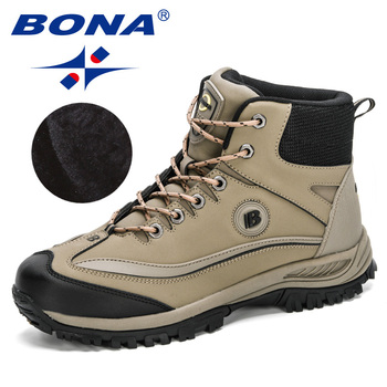 BONA 2020 New Arrival Super Warm Men Winter Boots Action Leather Man Plush Snow Anti-Slip High Top Masculino Shoes - discount item  40% OFF Men's Shoes