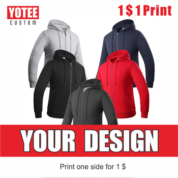 YOTEE autumn and winter thick trend zipper Hooded LOGO custom embroidery men women casual