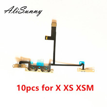 AliSunny 10pcs Volume Flex Cable for iPhone X XS XSmax On Off Switch Control with Metal Bracket Replacement Parts
