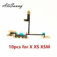 Alisunny 10 pçs cabo flexível de volume para o iphone x xs xsmax em fora do controle do interruptor com suporte de metal peças de reposição