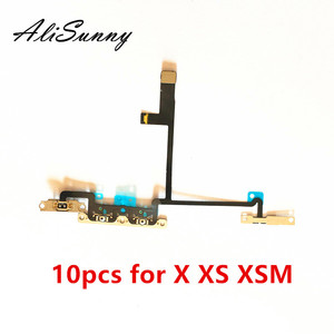 Image 1 - Alisunny 10 pçs cabo flexível de volume para o iphone x xs xsmax em fora do controle do interruptor com suporte de metal peças de reposição