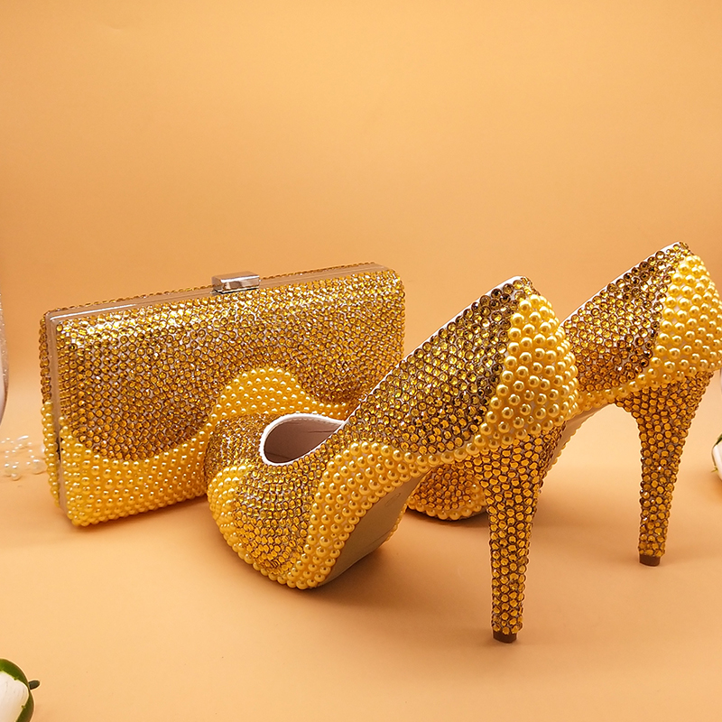 Golden pearl crystal wedding shoes and bag Sets Fashion women's Round Pumps High shoes party Dress shoes with matching bags