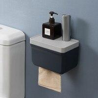 Suporte de papel higiênico caixa de papel à prova dwaterproof água prateleira caixa de armazenamento criativo montagem na parede suporte de rolo de papel dispensador produtos do banheiro