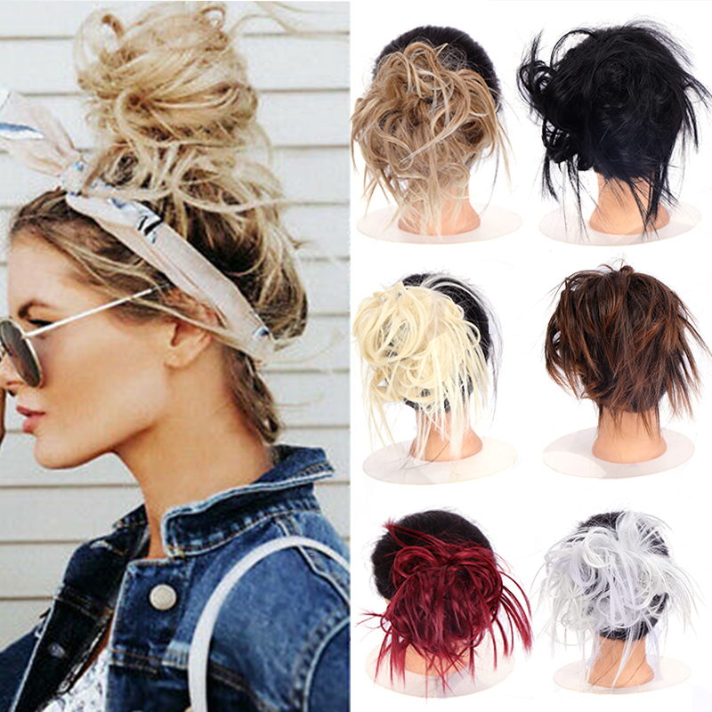 LUPU Messy Chignon Scrunchie Short Straight Synthetic Hair Bun With Elastic Band Updo Hairpiece Heat Resistant For Women