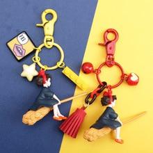 Japanese Hayao Miyazaki Cute Anime Kiki's Delivery Service Keychain Girl Kiki Figure Model PVC Doll Keyrings for Backpack Purse недорого