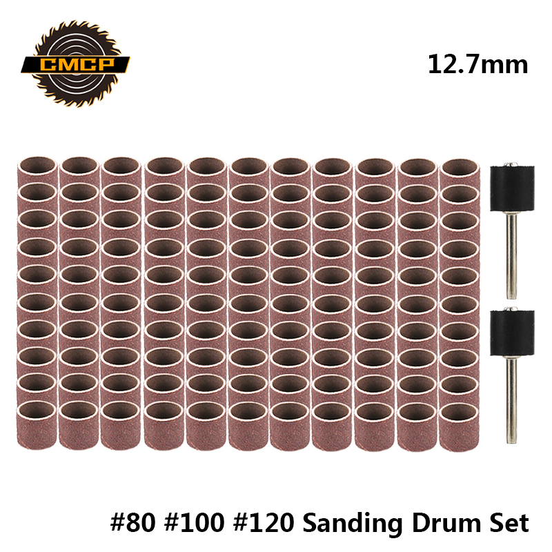 CMCP 12.7mm Sanding Drum Kit Grit #80 #100 #120 Dremel Sanding Band Sleeves For Electric Mini Angle Grinder Sanding Mandrels