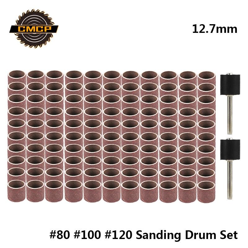 CMCP 12.7mm Sanding Drum Kit Grit #80 #100 #120 Sanding Band For Dremel Sleeves For Electric Mini Angle Grinder Sanding Mandrels