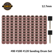 CMCP 12.7mm Sanding Drum Kit Grit #80 #100 #120 Sanding Band for Dremel Sleeves For Electric Mini Angle Grinder Sanding Mandrels
