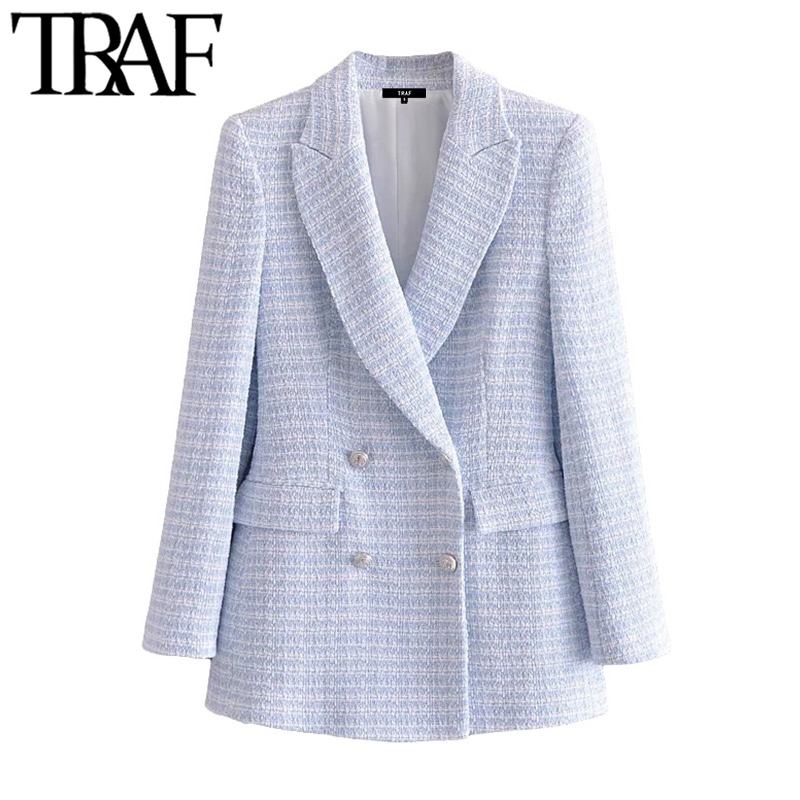 TRAF Women Fashion Double Breasted Tweed Check Blazer Coat Vintage Long Sleeve Pockets Female Outerwear Chic Veste