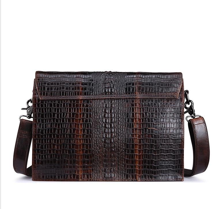 XIYUAN Men New Casual Top Layer Cowhide Leather Shoulder Bag Oil Wax Crossbody Bag Crocodile Pattern Business Messenger Bags Man