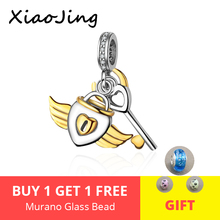 XiaoJing Romantic 925 Sterling Silver Lock Key of Heart Gold Charm Pendant fit Pandora Bracelet Jewelry Girlfriend Gift