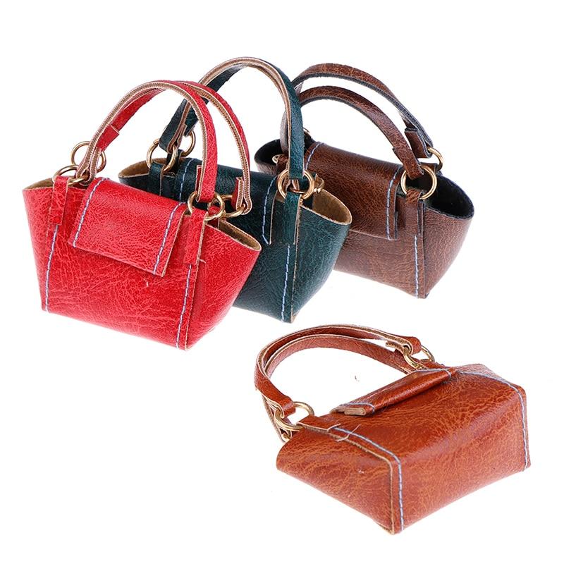 Mini Leather Handbag Purse Lady's Shoulder Bag Doll Accessories Dollhouse Miniature Fashion Doll's Accessory