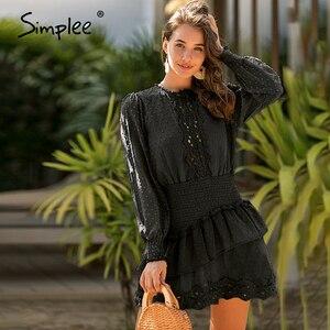 Image 2 - Simplee מנוקדת תחרה רקמת נשים שמלה אלגנטי לפרוע אלסטי מותניים נשי מיני שמלות אביב קיץ גבירותיי שמלות 2020