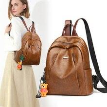 2020 Classic Leather Backpack Women Large Capacity Backpacks Travel Bags College Student School Shoulder Bag Vintage Rugzak