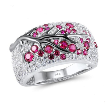 Top Quality cute Wedding 925 Sterling silver Ring Women rose red CZ Leaf Tree Trendy Party Finger Ring  stamp Wedding Jewelry 1