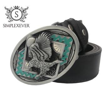 Silver Eagle Belt Buckle with Leather Belt Male Leather Pin Buckle Metal Belt Buckle Drop Shipping цена 2017