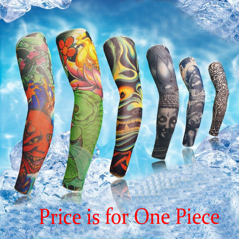 1 PIECE Elastic Arm Sleeves 3D Tattoo Sleeve Body Arm Warmers Stockings Cycling Fishing Sun Protection Arm Warmers Men Women