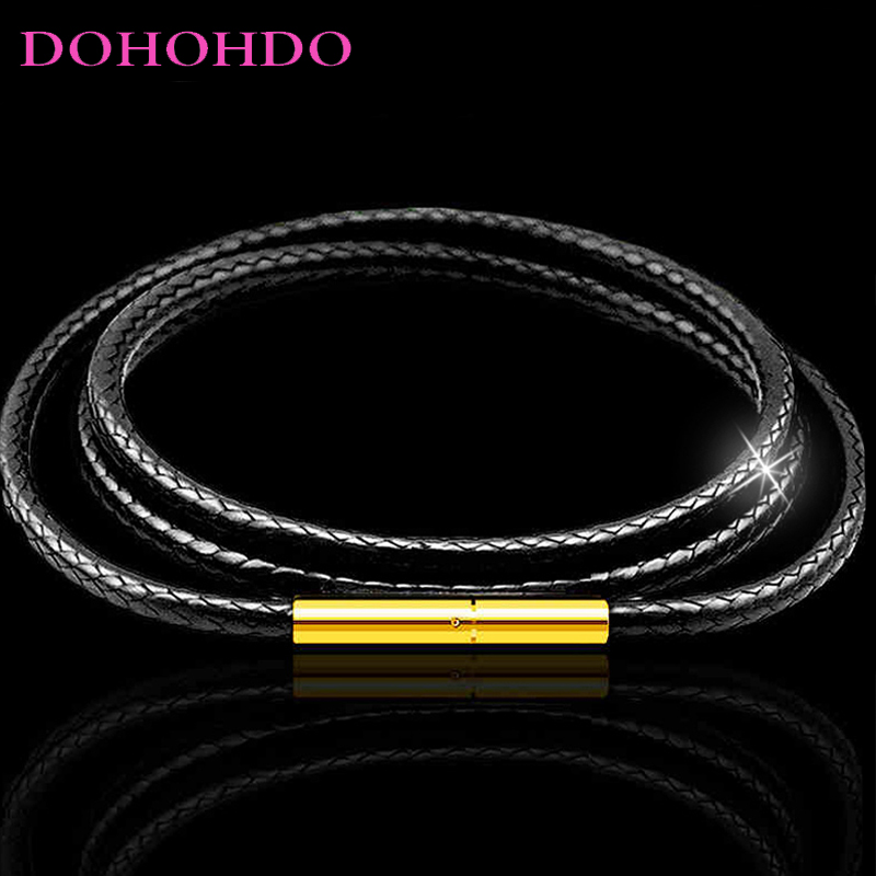 1mm 1.5mm 2mm 3mm Leather Necklace Cord Wax Rope Chain With Gold Color Stainless Steel Clasp For Men Women DIY Necklace Making