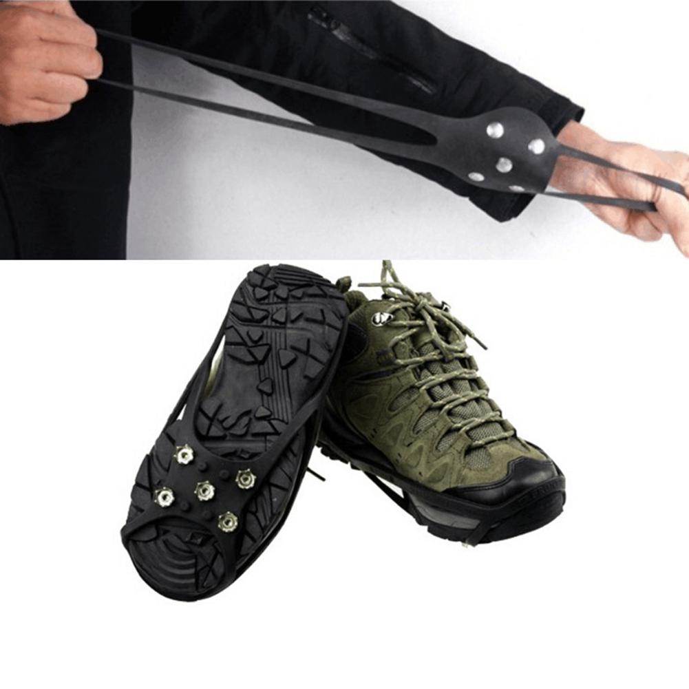 Non slip Snow Cleats Shoes Boots Cover Step Ice Spikes Grips Crampons for Hiking Walking Cleat Ice Gripper Winter Necessary in Climbing Accessories from Sports Entertainment