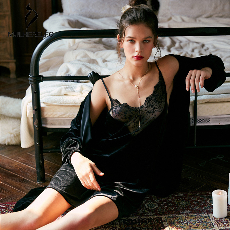 Blue Feminine Dressing Gowns For Women CamisV Collar Lace Long Sleeve Stitching Sleepwear Fashion Sexy Casual Night Dress Camiso