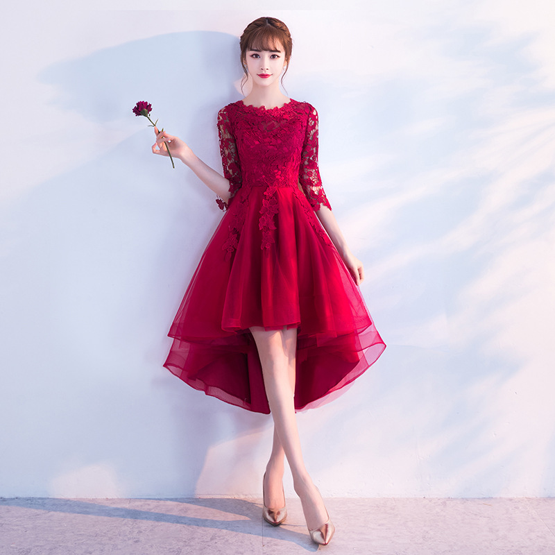 Burgundy Elegant Sexy Women Lace Flower Cheongsam Chinese Style Evening Mesh Dress Bride Wedding Qipao Slim Prom Party Gown in Cheongsams from Novelty Special Use